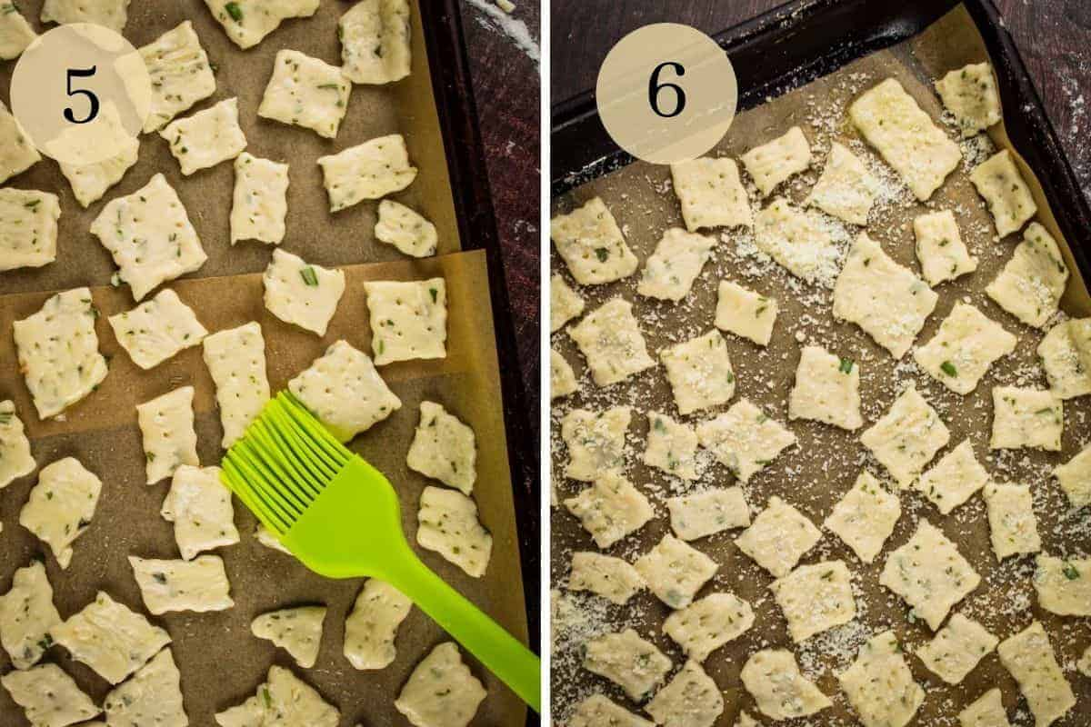 brushing cracker dough with olive oil and parmesan cheese on cracker dough squares