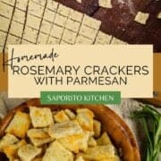 rosemary dough cut into squares and cooked homemade rosemary crackers in a bowl