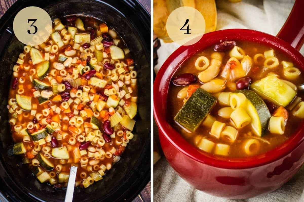 slow cooker with minestrone soup and red crock with minestrone soup