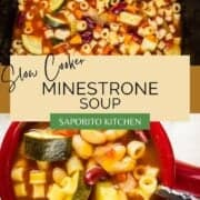 minestrone soup in a slow cooker and in a red crock with a spoon