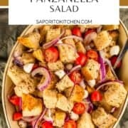 bread salad with tomatoes, cheese and onions in a ceramic dish
