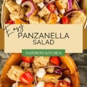 panzanella bread salad with tomatoes, cheese, onions in a dish and wooden bowl