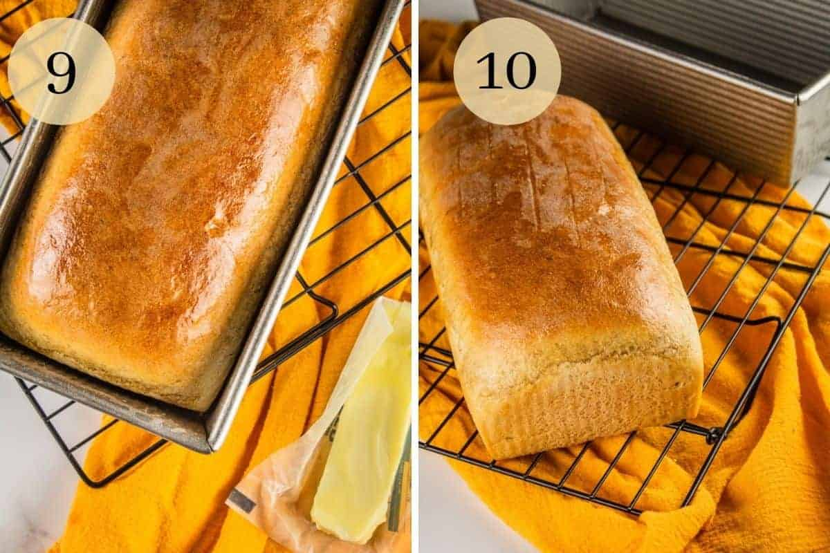 loaf of bread in a pan with stick of butter and then cooling on a rack