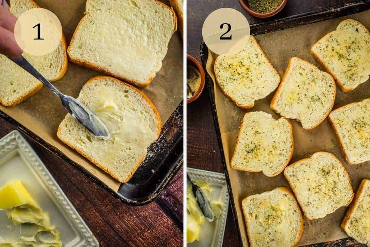 knife spreading butter on bread and buttered bread sprinkled with garlic powder and italian seasoning