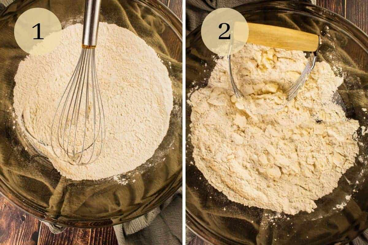 whisking flour in a bowl and cutting butter into flour with a pastry cutter