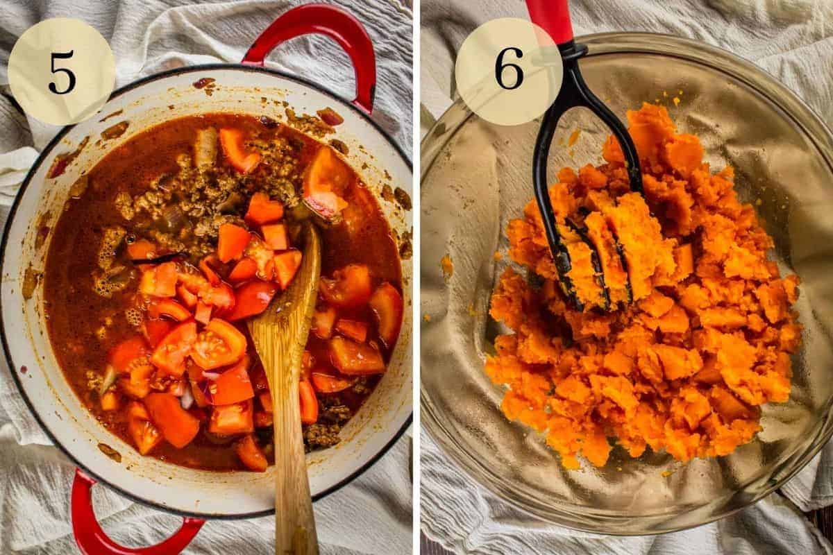 wooden spoon stirring tomatoes into turkey and broth and a masher mashing sweet potatoes