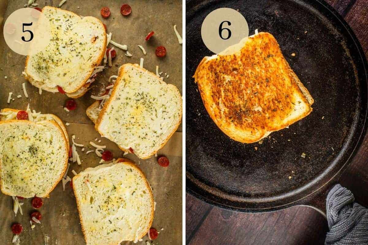 pizza grilled cheese with mozzarella and pepperoni uncooked and then browned on a skillet