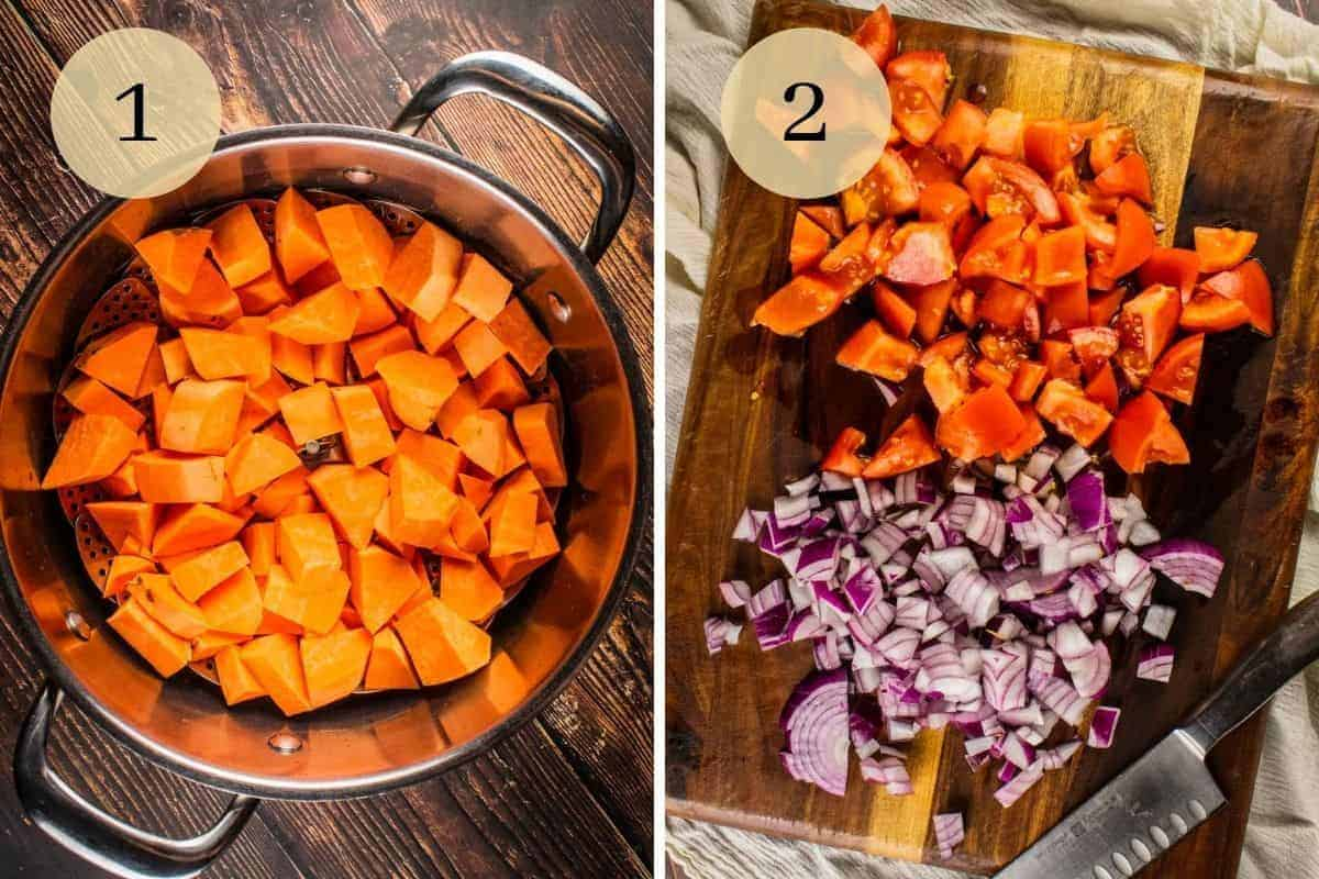 chopped sweet potatoes in a pot and chopped red onion and tomatoes on a wooden cutting board