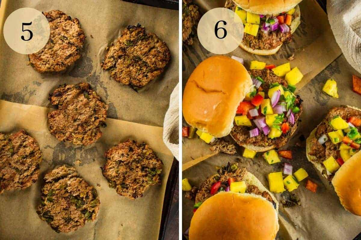 grilled green chile turkey burgers on a sheet pan and then on buns topped with pineapple salsa
