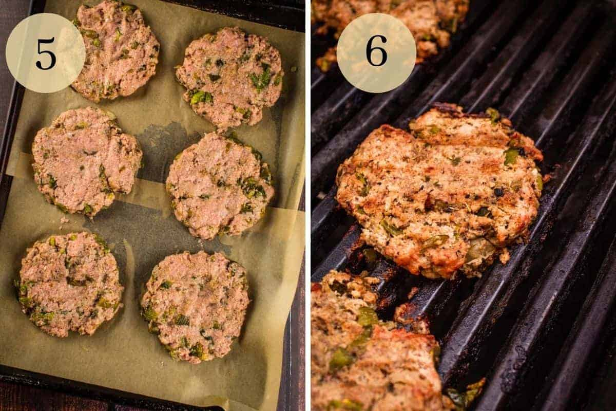 raw turkey burgers with green chile on a sheet pan and then cooked on a grill