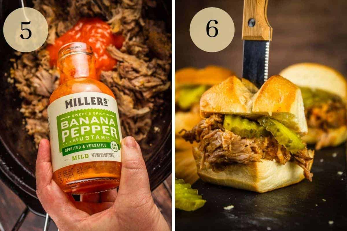 hand pouring millers mustard on pork in a slow cooker and pulled pork on a slider bun with pickles