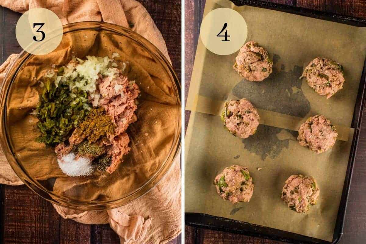 ground turkey, hatch chiles and seasoning in a bowl and then mixture combined and formed into 6 balls on a sheet pan