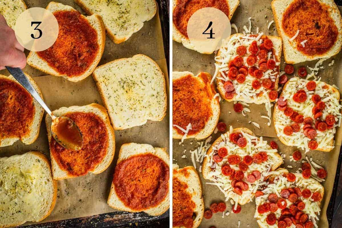 bread with marinara spread on it with a spoon and then sprinkled with mozzarella cheese and mini pepperoni