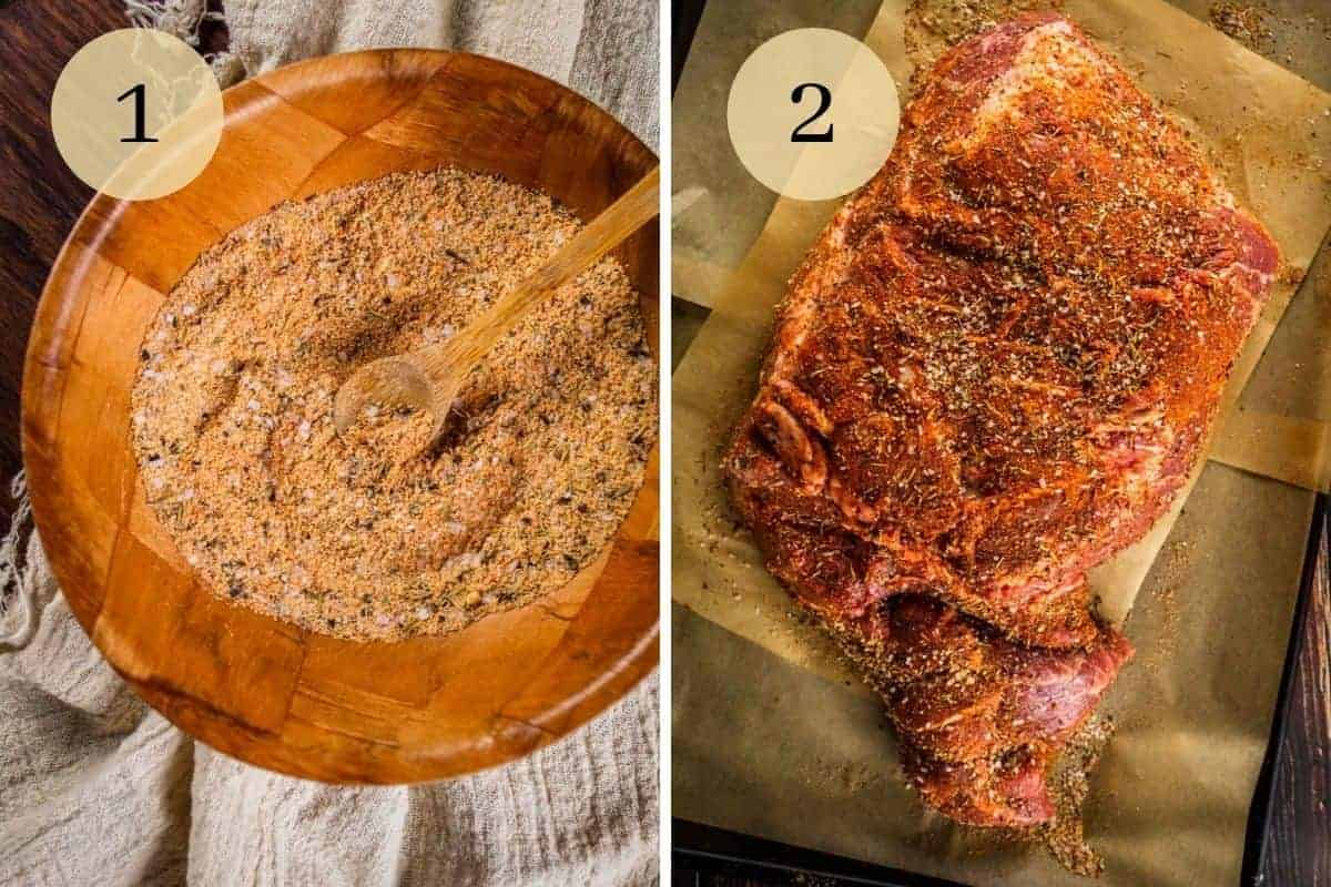 seasonings mixed together in a wooden bowl and then rubbed on a raw pork shoulder