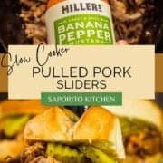 bottle of millers mustard pouring on pulled pork and on a slider with pickles