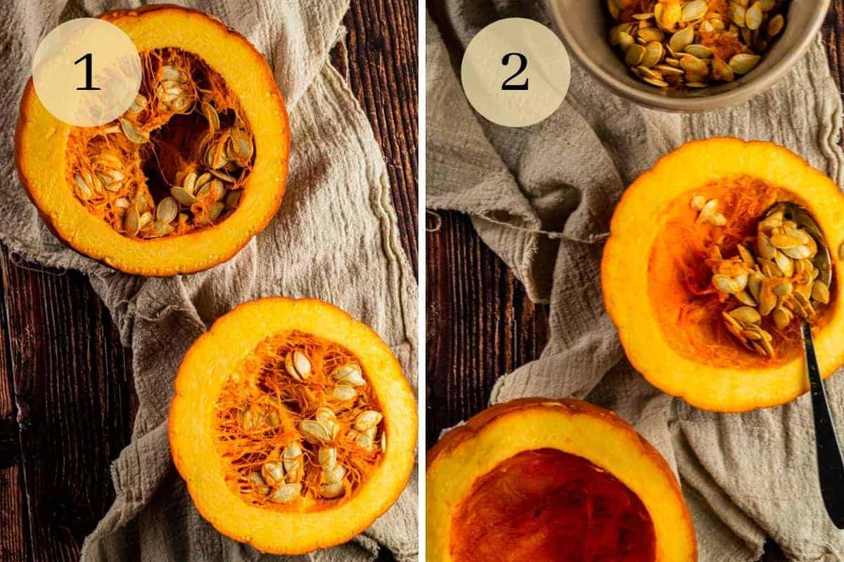 sugar pumpkins cut in half and the seeds being scooped out of it with a spoon
