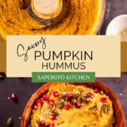 pumpkin hummus pureed in a food processor and in a wooden bowl