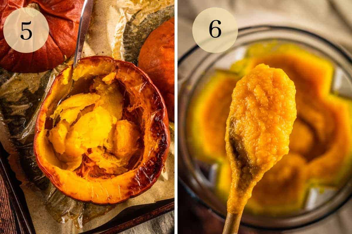roasted pumpkin half with spoon scooping out flesh and pureed pumpkin on a wooden spoon
