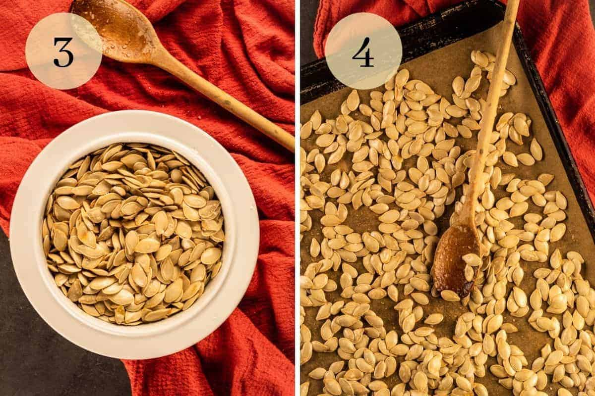 pumpkin seeds in a white bowl and spreading on a sheet pan with a wooden spoon