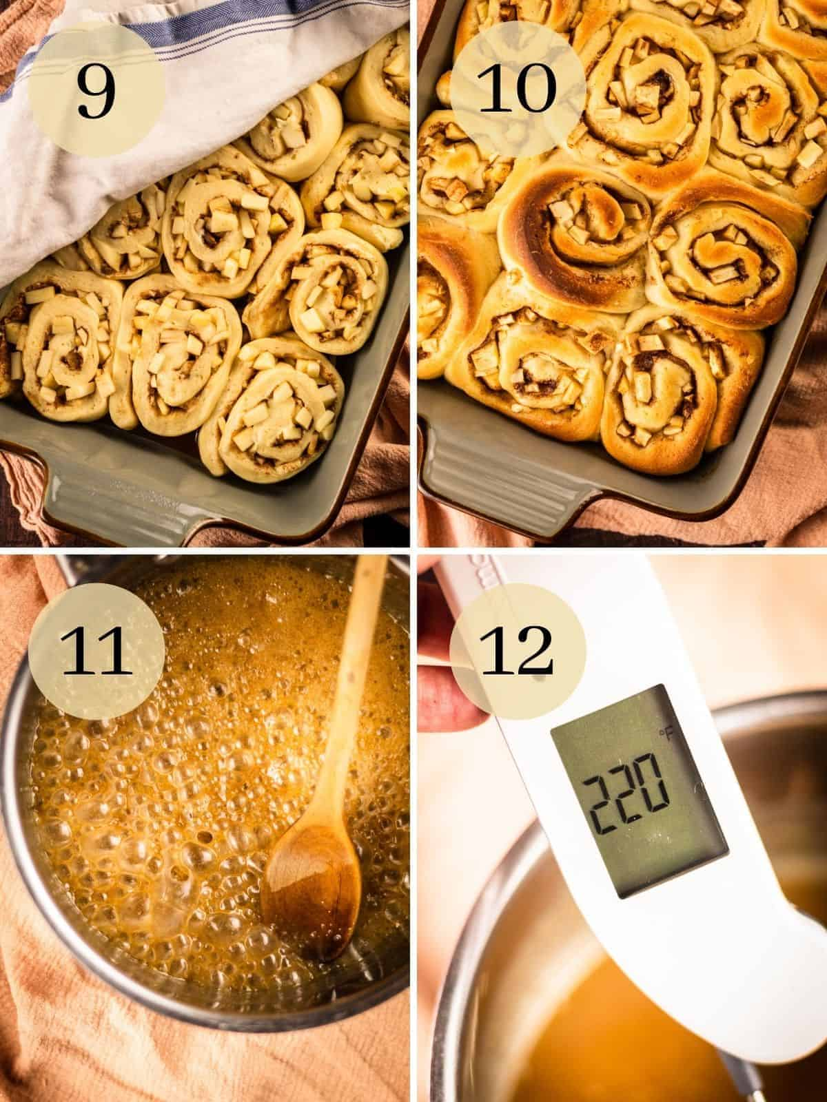 risen cinnamon rolls and then baked cinnamon rolls, bubbling caramel and thermometer that reads 220