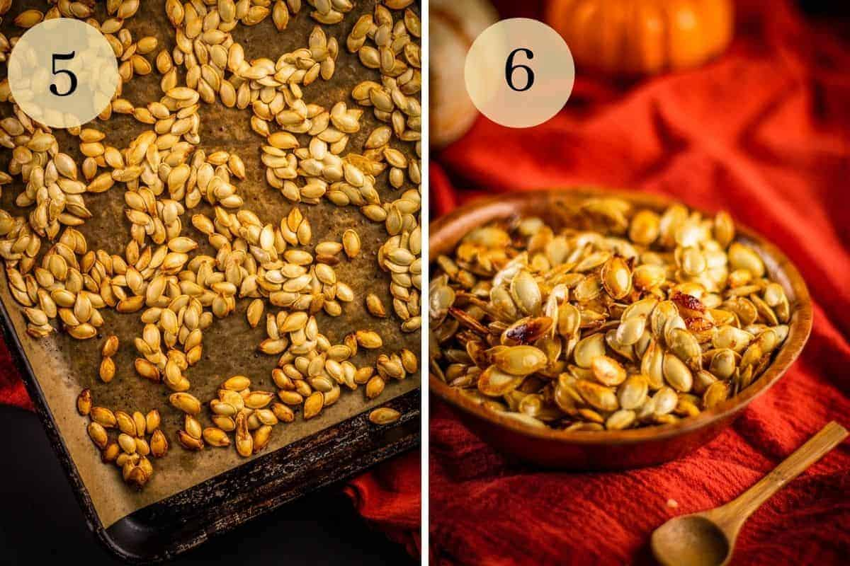 roasted pumpkin seeds on a sheet pan and in a wooden bowl next to a spoon