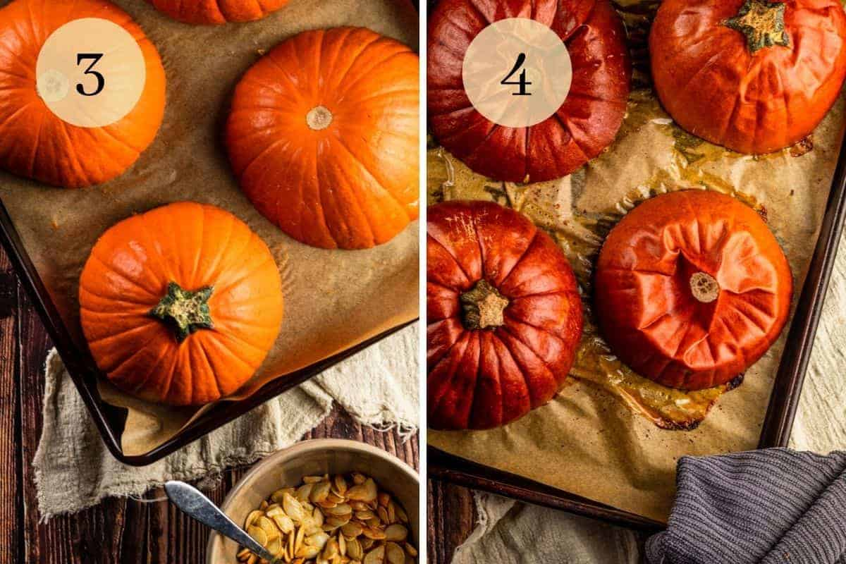 halved sugar pumpkins on a sheet pan before and after roasting in the oven for puree